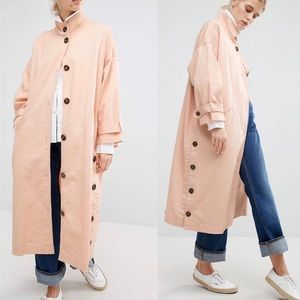 Monki Cotton Light Trench Coat with button detail